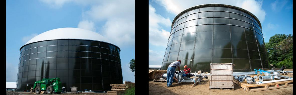 Two images of the Anaerobic Digester